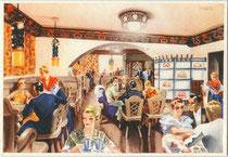 """Gaststube des Hotel """"Regina"""" in Cortina d'Ampezzo, via del Castello 1  (unverändert erhalten!). Farboffsetdruck 10 x 15 cm nach einem  Original von Filippo Romoli (1901-1969); Impressum: Barabino & Graeve, Genova um 1925.  Inv.-Nr. vu105fod00172"""