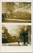 Umgebung und Ortsmitte der Bezirkshauptstadt Reutte, Tirol. Gelatinesilberabzug 9 x 14 cm (zweiteilige Mehrbildkarte) ohne Impressum.  Inv.-Nr. vu914gs01166