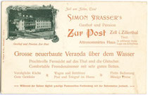 Simon Strasser's Gasthof ZUR POST in Zell am Ziller. Empfehlungskarte, Lichtdruck 9x14cm; L(orenz). Fränzl & Co., München um 1900. Inv.-Nr. vu914ld00053