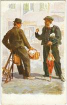 Bauer (rechts) aus Jenesien, bis 1919 Gerichtsbezirk Bozen, heute Bezirkgemeinschaft Salten-Schlern (rechts). Farbautotypie 9 x 14 cm nach einem Original von Adolf Kaspar (1877-1934). Impressum: Edit. Romberger, Olmütz um 1910. Inv.-Nr. vu914fat00101