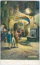 Nachtschwärmer vor dem Batzenhäusl in Meran unter den Lauben Nr. 32. Farbautotypie 9 x 14 cm nach einem Original von Anton J. von Dembinski; Impressum: S. Pötzelberger, Meran 1927.  Inv.-Nr. vu914fat00041