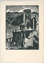 Burg EPPAN. Holzschnitt 10x15cm; Entwurf: Ragimund Reimesch, Verlag V(erein für das) D(eutschtum im) A(usland). Wirtschaftsunternehmen Berlin um 1935.  Inv.-Nr. vu105hs00002