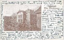 """Pension """"Villa Nachsommer"""" in Wilten (1904 nach Innsbruck eingemeindet), Müllerstraße 13. Autotypie 9 x 14 cm ohne Impressum, postalisch befördert 1902 nach Salisbury, England.  Inv.-Nr. vu914at00018"""