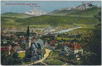 Dorfzentrum von Hötting (1938 nach Innsbruck eingemeindet worden) mit Pfarrkirche zu den Hll. Ingenuin und Albuin von Nordosten. Kombinationsfarbdruck 9 x 14 cm ohne Impressum, postalisch befördert 1921.  Inv.-Nr. vu914kfd00043