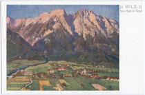 Mils bei Hall von Süden. Farbautotypie 9 x 14 cm nach Original eines anonymen Künstlers, Impressum: Wagner'sche Universitätsbuchdruckerei, Innsbruck um 1925.  Inv.Nr. vu914fat00057