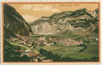 Panorama von Salurn von Osten. Photochromdruck 9 x 14 cm; Verlag Anna Boso, Handlung, Salurn um 1907.  Inv.-Nr. vu914pcd00006