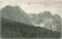 Die Serles der Stubaier Alpen vom Waldrastjöchl, Gemeinde Mühlbachl aus. Lichtdruck 9 x 14 cm; Impressum: Stengel & Co., Dresden 1905.  Inv.-Nr. vu914ld00225