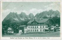 Gasthof und Pension ZUR POST in Ellmau am Wilden Kaiser, Bezirk Kufstein, Tirol 1930. Lichtdruck 9 x 14 cm; Impressum: Hans Pernat Wwe., München.  Inv.-Nr. vu914ld00060