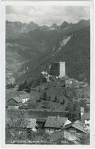 Burg LAUDEGG gegen Kaunergrat. Gelatinesilberabzug 9 x 14 cm; Impressum: A(lfred). Stockhammer, Hall in Tirol; postalisch gelaufen 1931.  Inv.-Nr. vu914gs00262