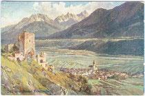 Burgruine Fragenstein über Zirl, Bezirk Innsbruck-Land, Tirol. Farbautotypie 9 x 14 cm nach einem Original eines anonymen Künstlers ohne Impressum, um 1910.  Inv.-Nr. vu914fat00065
