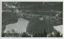 Ruine Sigmundsburg der Festungsanlage Ehrenberg auf der Insel im Fernsteinsee an der Fernpassstraße im Gemeindegebiet von Nassereith, Bzk. Imst, Tirol. Gelatinesilberabzug 9 x 14 cm ohne Impressum, um 1920.  Inv.-Nr. vu914gs00333