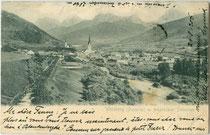 Welsberg im Pustertal von Westen. Lichtdruck 9 x 14 cm; Impressum: Stengel & Co., Dresden, postalisch gelaufen 1896. Inv.-Nr. vu914ld00234