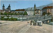 Auffahrt zur Innbrücke von Mariahilf aus. Photochromdruck 9x14cm; Impressum: G. Lampe, Innsbruck; postalisch gelaufen 1910.  Inv.-Nr. vu914pcd00089