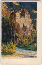 Burg RUNKELSTEIN an der Talfer in Wangen, Gemeinde Ritten. Chromolithographie 9 x 14 cm; Entwurf und Eigenverlag: M(ichael). Zeno Diemer um 1900.  Inv.-Nr. vu914clg00002