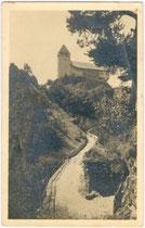 Weg zu Burg und Kloster SÄBEN über Klausen. Gelatinesilberabzug 9x14cm; Kilophot Wien 1919.  Inv.-Nr. vu914gs00103