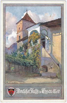 """Ansitz Kreith in Kreuzweg, Fraktion St. Michael, Gemeinde Eppan. Farbautotypie 9 x 14 cm; Impressum: Künstlersignatur: """"AG"""", Verlag Deutscher Schulverein Nr. 329, um 1910.  Inv.-Nr. vu914fat00008"""