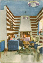 """Skisportler am Kamin in einem Salon des Hotel """"Valmartello"""" - PARADISO DEL CEVEDALE auf 2.160 m im Martelltal (Vinschgau). Farbautotypie 10 x 15 cm; Impressum: S.A.I.G.A. Genova um 1940.  Inv.-Nr. vu105fat00019"""
