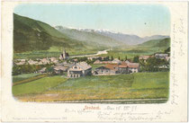 Jenbach am Inn, Bezirk Schwaz, Tirol mit Pfarrkirche St. Wolfgang von Nordosten. Photochromdruck 9 x 14 cm; Impressum: Purger & Co., München; postalisch befördert 1899. Inv.-Nr. vu914pcd00343