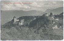 Burgen Warth und Altenburg in St. Pauls, Gemeinde Eppan. Platinotypie 9 x 14c m; Joh(ann). F(ilibert). Amonn um 1910. Inv.-Nr. vu914pt00002