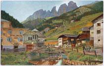 """Hotel """"Mulino - Post"""" in Campitello im Fassatal, ehem. Bzk. Cavalese, Gef. Grafsch. Tirol (hte. Comun General de Fascia, Prov. Tient). Farbautoypie 9 x 14 cm; Farbaufnahme nach Lumiere von Hans Hildenbrandt, Stuttgart um 1910.  Inv.-Nr. vu914fat00039"""