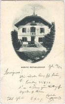 Ansitz ROTADLERHOF der Familie des Publizisten Dr. Rudolf Granichstaedten-Czerva. Gelatinesilberabzug 9x14cm; Impressum: Huber & Lerner, Wien; postalisch gelaufen 1924.  Inv.-Nr. vu914gs00503
