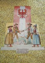 """Fresko von Rafael Thaler (1870 - 1947) """"die Zerreißung Tirols"""" von 1919  thematisierend am Haus Landseestraße Nr. 1 in Pradl, Stadtgemeinde Innsbruck. Digitalphoto; © Johann G. Mairhofer 2014.  Inv.-Nr. 2DSC00217"""
