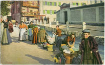 Wäscherinnen am Kanal in Trento / Trient. Photochromdruck 9 x 14 cm; Impressum: Deposito A. Figl, Bolzano um 1909.  Inv.-Nr. vu914pcd00313