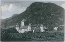 Schloss MARETSCH in der ehemaligen Malgrei St. Peter (bis 1910 Gemeinde Zwölfmalgreien). Lichtdruck 9x14cm; Joh(ann). F(ilibert) Amonn, Bozen 1906.  Inv.-Nr. vu914ld00105