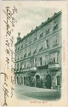 """Ehemaliger Gasthof """"zum Bären"""" in der Altstadt von Hall in Tirol, Salvatorgasse 2. Lichtdruck 9 x 14 cm; Impressum: A(lfred). Stockhammer, Hall in Tirol; postalisch befördert 1900.  Inv.-Nr. vu914ld00061"""