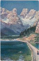 Lago di Landro / Dürrensee und Cristallo. Farbautotypie 9x14cm; Entwurf: R. A. Höger, Verlag Joh(ann). F(ilibert). Amonn, Bozen um 1910.  Inv.-Nr. vu914fat00020