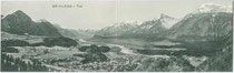Brixlegg am Inn) von Osten mit Rofan in den Brandenberger Alpen (rechts. Klappkarte 9 x 28 cm (geschlossen 9 x 14 cm); Impressum: Barth(olomäus). Sommeregger, Brixlegg um 1910.  Inv.-Nr. vu914ld00104