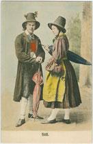 Paar aus Söll, Bezirk Kufstein, Tirol in regionaltypischer Kleidung um 1800. Farblichtdruck 9 x 14 cm; Impressum: Verlag Ernst Schmid, Innsbruck um 1905.  Inv.-Nr. vu914fld00055