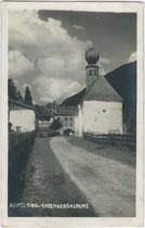 Kapelle Christus am Stein bei der Ehrenbergklause. Gelatinesilberabzug 9 x 14 cm; F. Sprenger, Innsbruck; postalisch befördert 1927.  Inv.-Nr. vu914gs00198