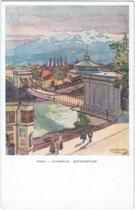 Ehemalige Kettenbrücke. Hungerburgbahn und Riesenrundgemälde. Farbrastertiefdruck 9 x 14 cm; Entwurf: Jos(ef). Demetz, Hall i.T., postalisch gelaufen 1943.  Inv.-Nr. vu914fat00026