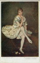 """""""Die Tänzerin"""". Farbautotypie 9 x 14 cm nach einem Original von Camilla Bukowska (Lebensdaten unbekannt). Impressum: Wiener Volkskunst um 1910.  Inv.-Nr. vu914fat00116"""