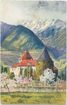 Burg PLANTA in der Plantastraße in Obermais. Chromolithographie 9 x 14 cm; Impressum: Kunstverlag Karl Alber-Specht, Ravensburg um 1905.  Inv.-Nr.vu914clg00010