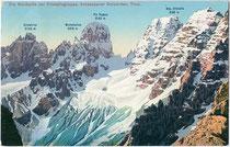 Ampezzaner Dolomiten vom Dürrensee / Lago di Landro, Gemeinde Toblach im Pustertal aus. Photochromdruck 9 x 14 cm; Impressum: Josef Werth, Toblach; postalisch gelaufen 1915.  Inv.-Nr. vu914pcd00242