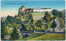Burg Trautson in Mühlbachl im Wipptal und die Schienentrasse der Brennerbahn. Photochromdruck 9 x 14 cm; Impressum: K(arl). Redlich, Innsbruck, Landhausstraße (heute Meraner Straße) 8, postalisch befördert um 1920.  Inv.-Nr. vu914pcd00155