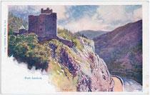 Burg LANDECK, Reschenstraße und Inn gegen Süden. Farbautotypie 9x14cm; Entwurf: F(ranz). Kopallik (1860-1931); Verlag Philipp & Kramer; Wien um 1900.  Inv.-Nr. vu914fat00058