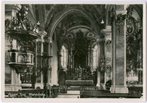 Inneres der Pfarrkirche zum Hl. Erzengel Michael in Absam bei Hall in Tirol. Gelatinesilberabzug 10 x 15 cm; Impressum: Anton Haider, Absam und Hall i. T. um 1940.  Inv.-Nr. vu105gs00003