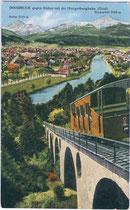 """Der Inn vom Stampfbetonviadukt der alten Hungerburgbahn (1906 - 2005) in Innsbruck aus. Kombinationsfarbdruck 9 x 14 cm; Impressum: Verlag """"Monopol"""", München und Hall in Tirol um 1910. Inv.-Nr.  vu914kfd00010"""