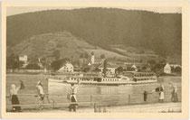 """Postdampfer """"Habsburg"""" der k.k. priv(ilegierten). Donau-Dampfschiffahrts-Gesellschaft in voller Fahrt.  Impressum: Verlag H. Zwölfer, Aggsbach Df., Wachau.  Inv.-Nr. vu914at00029"""