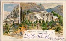 Kurhaus der Marktgemeinde Gries (1925 nach Bozen eingemeindet), um 1900.  Chromolithographie 9 x 14 cm. Hirschmann, München;  Druck u. Verlag Otto W. Kauffmann, Leipzig.  Inv.-Nr. vu914clg00015
