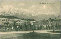(Altes) Garnisonsspital in Innsbruck, Amras, Rudolf-Greinz-Straße (Neues Garnisonsspital: Köldererstraße 4). Lichtdruck 9x14cm; K(arl). Redlich, Innsbruck um 1910.  Inv.-Nr. vu914ld00202