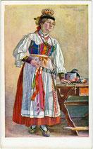 """""""Grödner Kranzljungfrau"""" (Brautjungfrau aus dem Grödner Tal, Südtirol). Farbautotypie 9 x 14 cm  nach einem Original von Paula Tiefenthaler, Hall in Tirol (1881-1942). Impressum: Joh(ann). F(ilibert). Amonn, Bozen 1919.  Inv.-Nr. vu914fat00118"""