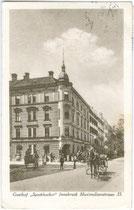 Gasthof SPECKBACHER in Innsbruck, Maximilianstraße 35. Lichtdruck 9x14cm; kein Impressum um 1920.  Inv.-Nr. vu914ld00055a