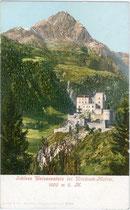 Schloss WEISSENSTEIN in Matrei in Osttirol. Photochromdruck 9x14cm; kein Impressum um 1900.  Inv.-Nr. vu914pcd00204