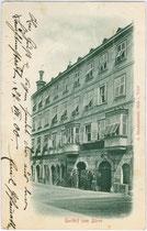 """Ehemaliger Gasthof """"zum Bären"""" in Hall in Tirol, Salvatorgasse 2. Lichtdruck 9 x 14 cm; Impressum: A(lfred). Stockhammer, Hall in Tirol; postalisch gelaufen 1900.  Inv.-Nr. vu914ld00061"""