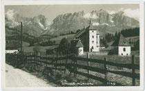 Schloss MÜNICHAU in Reith bei Kitzbühel. Gelatinesilberabzug 9 x 14 cm; Impressum: Adolf Künz, Innsbruck, Stafflerstraße 18; postalisch gelaufen 1929.  Inv.-Nr. vu914gs00519