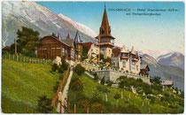 """Hotel """"Mariabrunn"""" (vorm. von Attlmayr'scher Neuhof), Höhenstraße 120, Mühlau (1938 nach Innsbruck eingemeindet); seit 1931/32 Neubau. Photochromdruck 9 x 14 cm; Impressum: K(arl). Redlich, Innsbruck, postalisch gelaufen 1916.  Inv.-Nr. vu914pcd00073"""